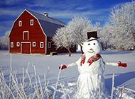 冬天堆雪人高清唯美图片