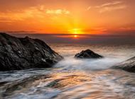 壮观迷人的大海夕阳风景壁纸图片