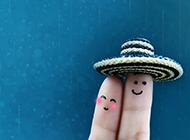 小清新可爱手指情侣浅蓝