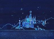 蓝色星空梦幻意境城堡背景图片