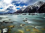 新西兰雪山冬天唯美风景壁纸图片