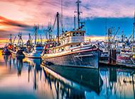 意境优美的美国渔人码头风景壁纸