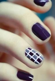 紫色简单彩绘法式美甲