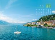 2016年6月日历清新蓝色大海风光壁纸大全