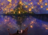 大海情侣城堡许愿灯壁纸
