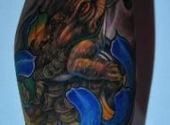 彩色招财神兽金蟾纹身图案