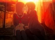 两个女孩,吻,接吻,夕阳,阶梯