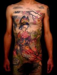 推荐一张传统艺妓纹身图案