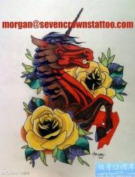 一组经典前卫的彩色独角兽纹身手稿