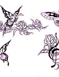 图腾纹身图片:图腾蝴蝶音符玫瑰纹身图片图案