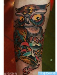 手臂前卫经典的school风格的猫头鹰纹身图片