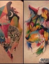 一组概念风格的猫咪与狐狸纹身图片