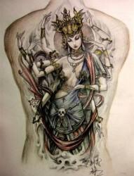 满背千手观音佛纹身图片图案