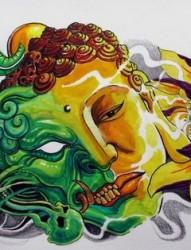 佛与恶魔纹身图片
