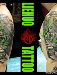 手臂超酷霸气的大黑天菩萨纹身图片
