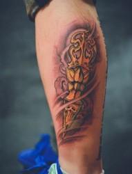 腿部流行很酷的一张降魔杵纹身图片