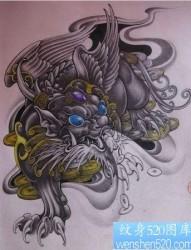 神兽纹身:招财神兽貔貅纹身图案