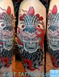 经典时尚欧美纹身图案电影《敢死队》史泰龙背部乌鸦骷髅纹身图案手稿