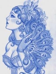 前卫漂亮的欧美美女纹身手稿