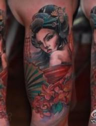 手臂漂亮前卫的美女艺妓纹身图片