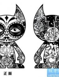 一幅时尚经典的图腾猫咪纹身手稿