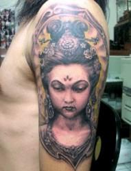 最好的纹身嗲推荐一幅手臂观音纹身图片