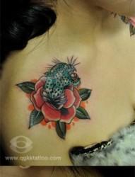 女人肩膀处好看潮流的玫瑰花与豹子纹身图片
