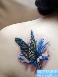 纹身520图库推荐一幅女人肩部蝴蝶花文身图片