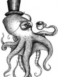 一款超有个性的章鱼纹身手稿