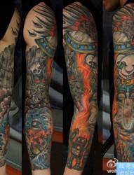 纹身520图库推荐一幅欧美花臂纹身图片