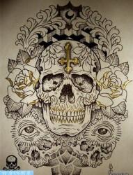 彩色骷髅头纹身手稿作品