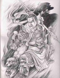 二郎神纹身图案手稿
