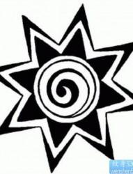 一幅图腾太阳纹身图案