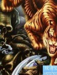 一幅老虎纹身图案