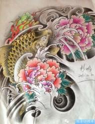 传统莲花鱼纹身图案