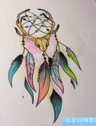彩色捕梦网纹身图案
