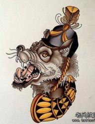 一组个性的school风格纹身手稿图案
