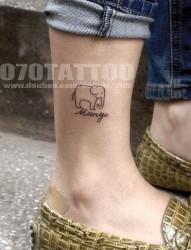 小清新腿部财神象纹身图案
