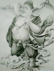 一款猪八戒纹身手稿图案