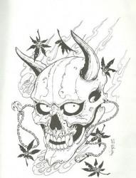 一款般若枫叶纹身手稿图案