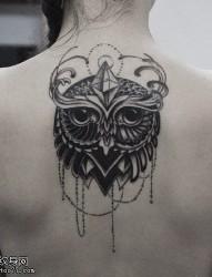 女性背部猫头鹰纹身图案
