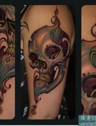一款手臂骷髅纹身图案