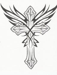 一组漂亮时尚的十字架纹身手稿