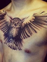 胸部个性时尚的黑白纹身