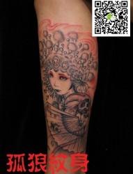 男人小腿花旦纹身 孤狼纹身工作室作品 天津纹身