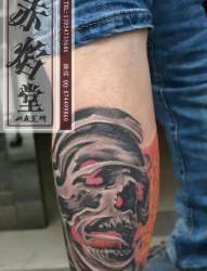 小腿肖像纹身 山东纹身 济宁纹身