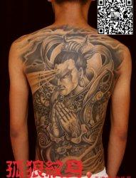 宝坻纹身 满背二郎神纹身 孤狼纹身工作室作品