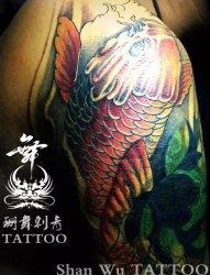 胳膊纹身,彩色,鲤鱼