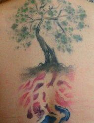 女性后背上漂亮的树纹身水彩纹身图片