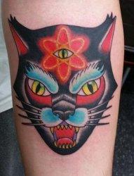 手臂上传统彩色纹身动物三眼纹身猫脸纹身图片